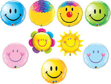 """Smiley Face Foil Balloons 18"""" 32"""" 35"""" and 36"""" Qualatex Long Float Time SPECIAL"""