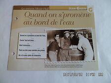 CARTE FICHE PLAISIR DE CHANTER JEAN GABIN QUAND ON S PROMENE AU BORD DE L'EAU