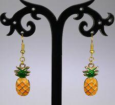 Fun gold alloy pineapple dangle enameled hooked earrings, yellow green, fruit