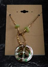"""Glass Peace Sign Pendant Necklace Gold Tone Metal Chain Jewelry 16-18"""" Chain"""