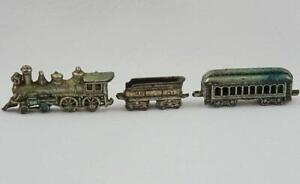 Vintage Lead Train Toy Model Miniature Steam Locomotive Carriage Tender Engine