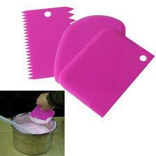 3 in 1 Cake Plain Edge Side Scraper Plastic Butter Cream Smoother Fast