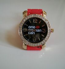 Red Band Gold Finish  Women's Rhinestone-accented Silicone Fashion Watch
