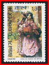 BRAZIL 1974 COSTUMES & PAINTING MNH PORTUGAL STAMP SHOW (GIT)