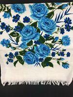 Vintage FMC Towel MATCHED Set Cottage Shabby Chic Retro Floral Blue Roses MOD
