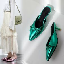 Fashion Womens Ladies Kitten Heels Mules Slip On Shoes Bows Pointed Toe Slippers