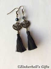 Handmade Bronze Earrings With Black Tassels And Glass Pearls