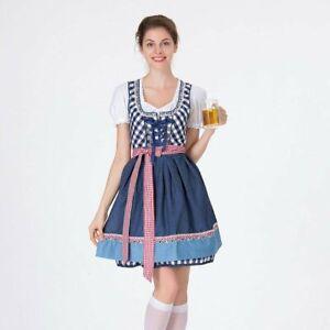 Women's Oktoberfest Blue Grid Square Neckline Midi Dress Costume