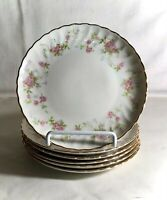 "6 Syracuse Silhouette Shape Pink Floral Spray 6 1/2"" Coupe Bread Plates"
