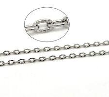 1m Chaine maille Forçat Texturée chainette Argenté 4,5mm x 3mm petit maillon