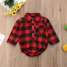 Xmas Newborn Baby Girl Boy Plaid Check Romper Bodysuit Outfits Christmas Clothes