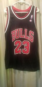 Vtg. Michael Jordan Chicago Bulls Jersey Champion Size 44? Black Red White AS IS
