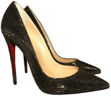 Christian Louboutin So Kate Pointed Toe Pump Black-Gold Glitter Shoes 40
