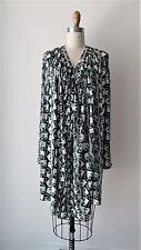 Marni Printed Cinched Fullness with Tie At Neck Long Sleeve Dress Sz 38