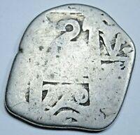 1770 Spanish Bolivia Silver 2 Reales Cob Antique Two Bits Colonial Treasure Coin