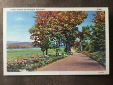 Minocqua WI Indian Summer Linen Postcard