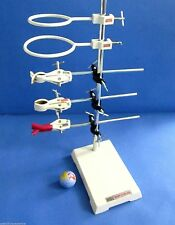 """Heavy Cast Iron Lab Stand 9"""" x 6"""" -9 Pc Kit w/ Clamps Rings Boss head & S.S. Rod"""