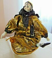 "Musical Mardi Gras Porcelain Doll - HARLEQUIN Jester Clown 9.5"" tall"