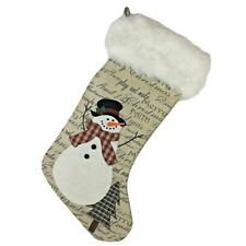 Christmas Burlap Stocking Country Snowman Holiday Script Faux Fur Cuff Rustic