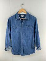 Country Road Mens Blue Heathered Long Sleeves Denim Button Up Shirt Size Small