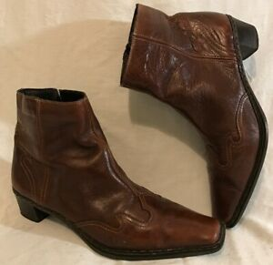 Rieker Brown Ankle Leather Lovely Boots Size 37 (812v)