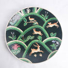 Vintage Chinese Porcelain Green Decorative Plate Woodland Animals Hand Painted