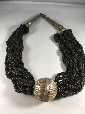 Sterling silver clasp and adornment Vintage Wooden black Beaded Necklace, with