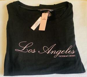 VICTORIA'S SECRET VS LOS ANGELES BLACK T-SHIRT SUPERSOFT MODAL CREWNECK SHIRT S
