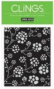 Hero Arts FLOATING FLOWERS Cling Stamp Background CG124 Floral