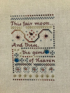 """""""Moon..gems of Heaven"""" Completed Cross Stitch Sampler STAR Beads Special Stitch"""