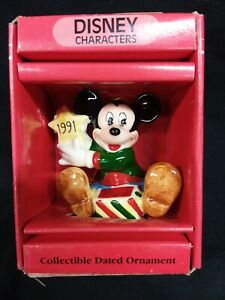 Schmid & Disney Christmas Ornament  Mickey  Mouse Dated 1991 Ceramic MIP