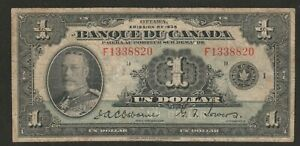 1935 CANADA (FRENCH TEXT) 1 DOLLAR NOTE