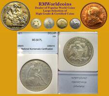 1871 Seated Dollar, Rare Choice BU, Sharp Detail/ Luster Fields, Rare High Grade
