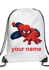 PERSONALIZZATO Bambino spiderman borsa da palestra,PE,nuoto,Danza per la scuola