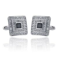 New Mens Silver Plated Pair of Cufflinks Austrian Crystal Clear Wedding Gift Bag