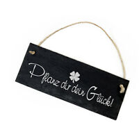Schiefertafel « Pflanz dir dein Glück » 22x8 Schild Klee Garten Pflanzen Beet