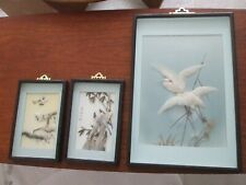 More details for 3 x lovely vintage rectangular chinese 3d feather picture of birds