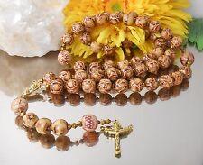 Zilar Rosenkranz handgefertigt Holz Perlen + Glas Rhomben gold