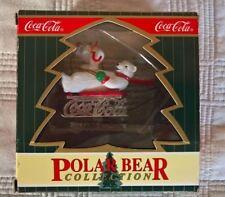 1999 Coca-Cola SLedding Polar Bear Collection Christmas Ornament
