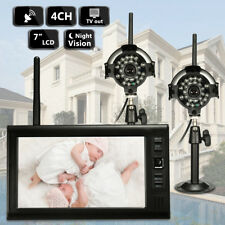"""2 Wireless CCTV Camera & 7"""" LCD Monitor DVR Motion Detect Home Security System"""