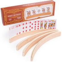 4-pack Premium Wooden Card Holders   Holds Up to 20 Cards Hands-free