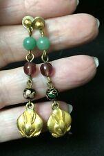 Vintage Earrings ALYA Pierced Dangle Minimalist Gold Plated Bunny Charm Stones