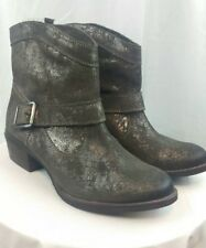 New Naughty Monkey Metallic Leather Ankle Boots Womens 8