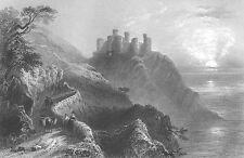 Wales Gwynedd HARLECH CASTLE Medieval Fortress Cliffs ~ 1840 Art Print Engraving