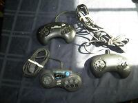 Lot of 3 Used Original Sega Genesis 3 & 6 Button Controllers FREE SHIPPING
