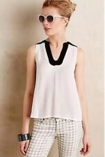 Anthropologie MAEVE Size 12 Enna Tank Top Sleeveless White W/Black