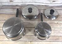 Revere Ware 1 & 2 QT Sauce Pan Stainless Steel 1801 w/ Lids Made USA Pot EUC