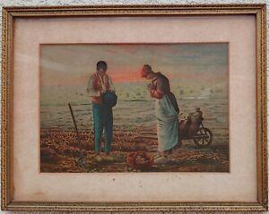 "Antique  ""The Angelus"" rework of the Jean-François Millet painting, pre-1890"