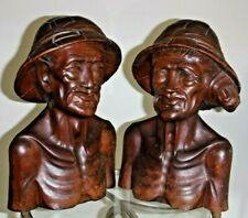 Vtg Bali Heavy Wood Carving Art Busts Pair of Fisherman and Woman  12""