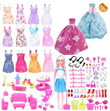 123 Pcs Doll Clothes Huge Lot Gown Outfits Party Accessories Barbie Girl NEW